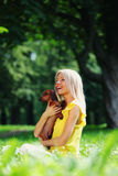 Woman dachshund in her arms Stock Photography
