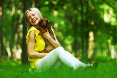 Woman Dachshund In Her Arms Stock Photos
