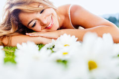 Woman with daisies Stock Photo