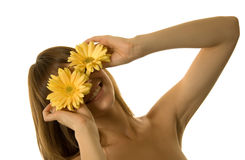 Woman with daisies Royalty Free Stock Image