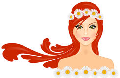 Woman with daisy crown Stock Photos