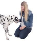 Woman with dalmatian dog Royalty Free Stock Images