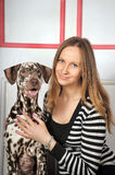 Woman with dalmatian dog Stock Photos