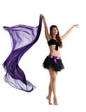 Woman in dance costume posing with flying cloth Stock Images