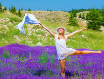 Woman dance on floral field Royalty Free Stock Photo