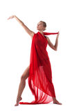 Woman dance with flying fabric isolated Royalty Free Stock Images
