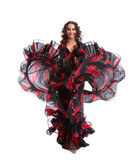 Woman dance in gypsy red and black costume Stock Photos