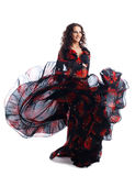 Woman dance in gypsy red and black costume Stock Photo