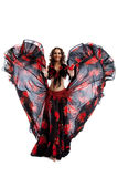 Woman dance in gypsy red and black costume Royalty Free Stock Photo