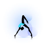 Woman dance icon. Female silhouette dancing on abstract circles background Stock Image