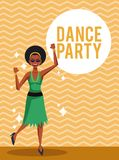 Woman dance party. Card over striped background vector illustration graphic design Stock Photography
