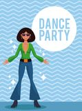 Woman dance party. Card over striped background vector illustration graphic design stock illustration