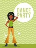 Woman dance party. Card over striped background vector illustration graphic design vector illustration