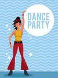 Woman dance party. Card over striped background vector illustration graphic design royalty free illustration