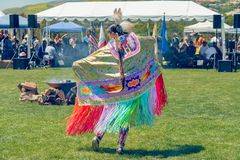 Woman Dance, Pow Wow. A Native American female dancer dancing at annual pow-wow at Malibu, CA royalty free stock images