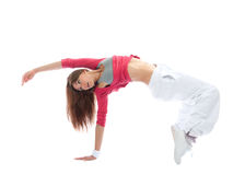 Woman dancer break dancing Royalty Free Stock Image