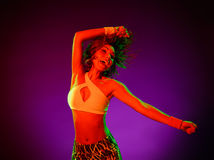 Woman dancer dancing fitness exercises isolated Royalty Free Stock Photography