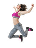 Woman dancer dancing fitness exercises isolated Royalty Free Stock Images