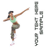 Woman dancer in hip hop attire Royalty Free Stock Photos
