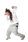 Woman dancer isolated on white Stock Photos