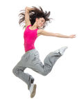 Woman dancer jumping dancing Royalty Free Stock Image