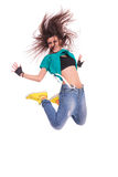 Woman dancer jumping and screaming Royalty Free Stock Photography