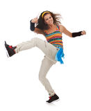 Woman dancer kicking and dancing Royalty Free Stock Photo