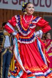 Woman dancer from Mexico. TIMISOARA, ROMANIA - JULY 8, 2018: Woman dancer from Mexico in traditional costume present at the international folk festival royalty free stock photo