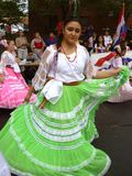 Woman Dancer From Paraguay. Photo of woman dressed in a traditional dance costume of paraguay performing a dance routine at the latino festival in mount pleasant Stock Photography