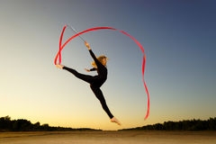 Woman dancer with ribbon Stock Photo