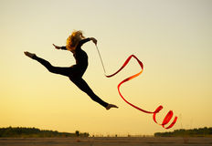 Woman dancer with ribbon Royalty Free Stock Image