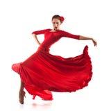 Woman dancer wearing red dress. Woman traditional dancer wearing red dress isolated on white background stock photos