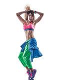 Woman dancers dancing fitness exercising excercises isolat Stock Images