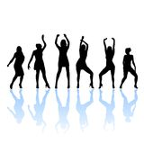 Woman dancers silhouette Royalty Free Stock Photography