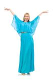 Woman dances in gentle blue dress isolated on the Stock Photos