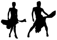 Woman dances silhouette vector Royalty Free Stock Photos