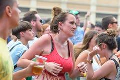 A woman dances at Sonar Music Festival Stock Images