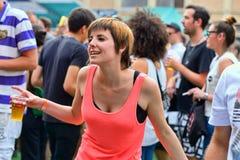 A woman dances at Sonar Music Festival Royalty Free Stock Photo