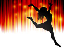 Woman Dancing. An illustration of a woman dancing on a fiery red background Royalty Free Stock Photography