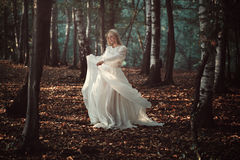 Woman dancing in autumn forest stock image