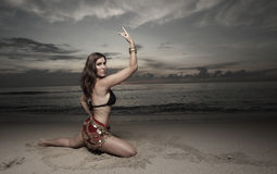 Woman dancing on the beach Royalty Free Stock Photography