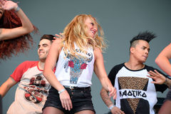 Woman dancing a choreography at the Primavera Pop Festival of Badalona Royalty Free Stock Photos