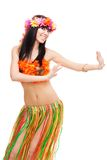 Woman dancing in costume made of flowers Royalty Free Stock Image