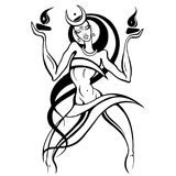 Woman dancing with fire. Beautiful young woman dancing with fire. Hand drawn Vector illustration, White background Stock Photos
