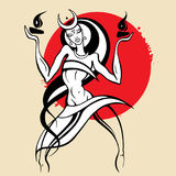 Woman dancing with fire. Beautiful young woman dancing with fire. Hand drawn Vector illustration, White background Stock Image