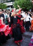 Woman dancing flamenco in Andalucia fair Stock Images