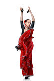 Woman dancing flamenco isolated on white Royalty Free Stock Photos