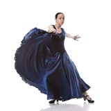 Woman dancing flamenco isolated on white Royalty Free Stock Images