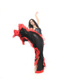 Woman dancing flamenco over white Stock Photo