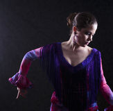 Woman Dancing Flamenco in Red Violet Attire Royalty Free Stock Photography